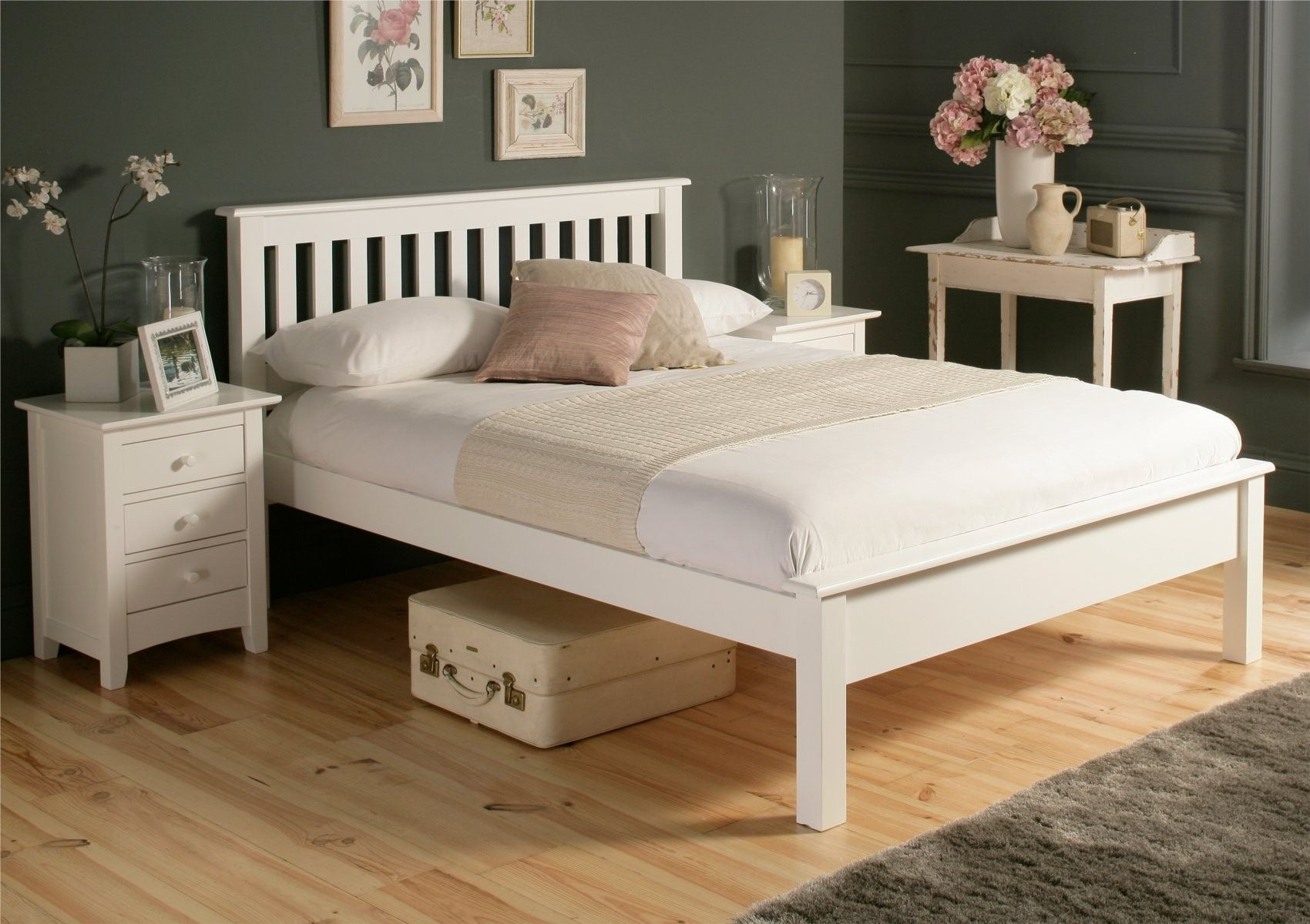£169 Time4sleep.co.uk Shaker White Wooden Bed Frame LFE