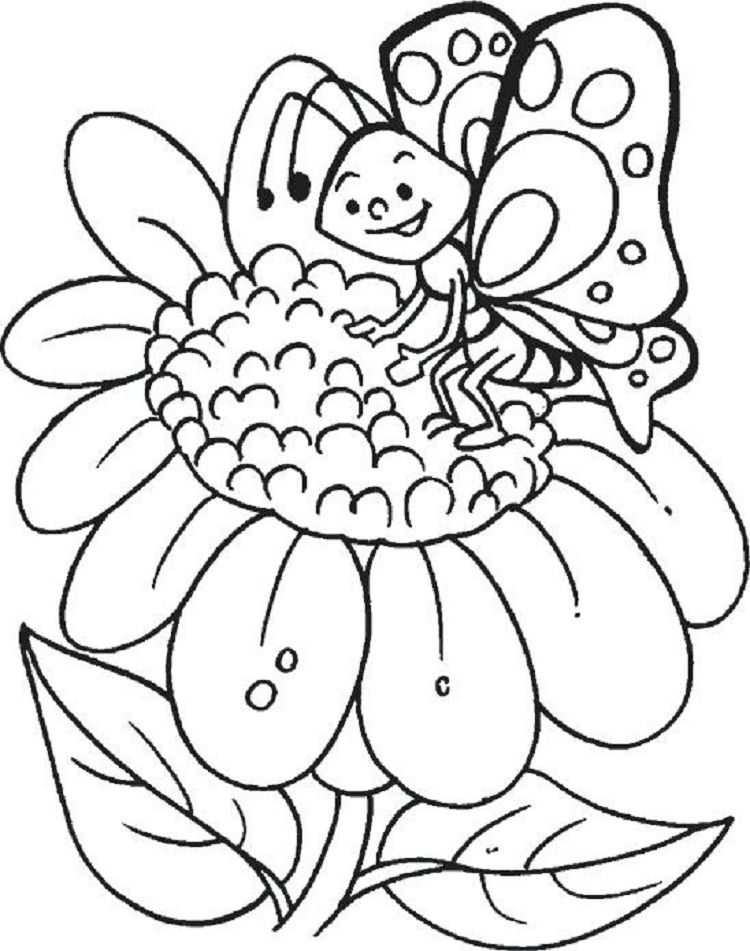 Butterfly and Sunflower Coloring Pages Malvorlagen für