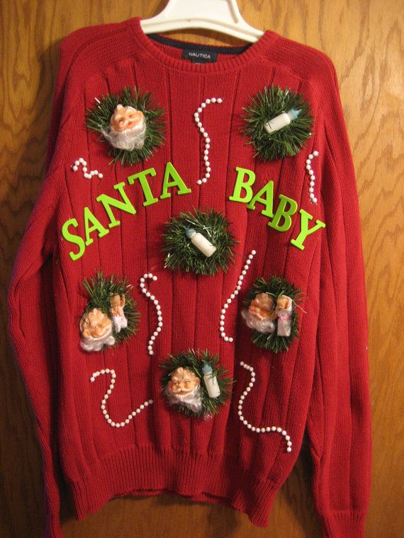 baby santa tacky ugly christmas sweater absolutely love this