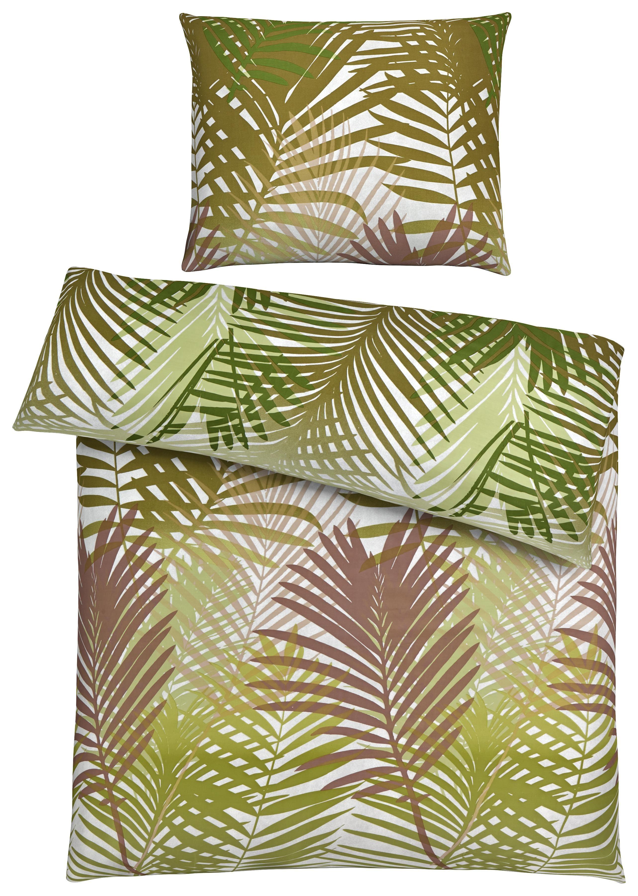 Grune Bettwasche Mit Tropischem Pflanzenmuster Grune Bettwasche
