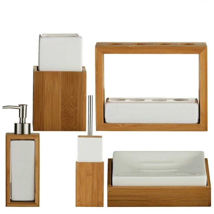 Meuble salle de bain bambou et accessoires en 50+ idées Accessoires salle de bain, Céramiques  # Accessoire Salle De Bain Bois