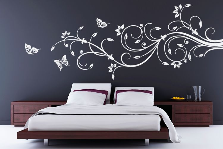 luxurioeses wandtattoo blumen ranke 90x39cm w615 in weiss auch fuers wohnzimmer zimmer pinterest. Black Bedroom Furniture Sets. Home Design Ideas
