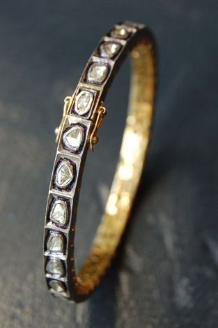 RONA PFEIFFER Rose cut Diamond bangle* Rose cut Diamond Bangle set in Sterling Silver .925 and 14K Gold backing 2,500 USD