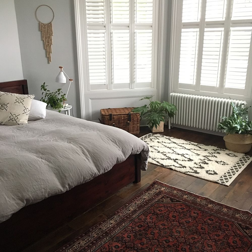 Kelly Love\'s bedroom with great use for a small rug and well ...