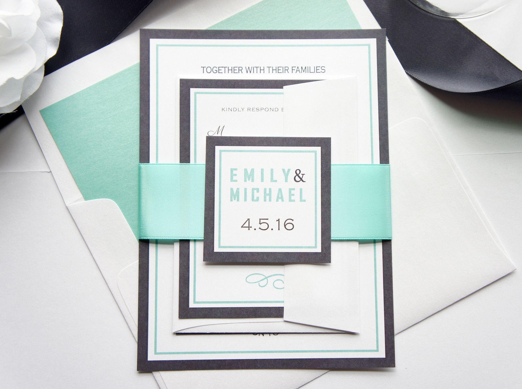 Mint Wedding Invitation SAMPLE SET