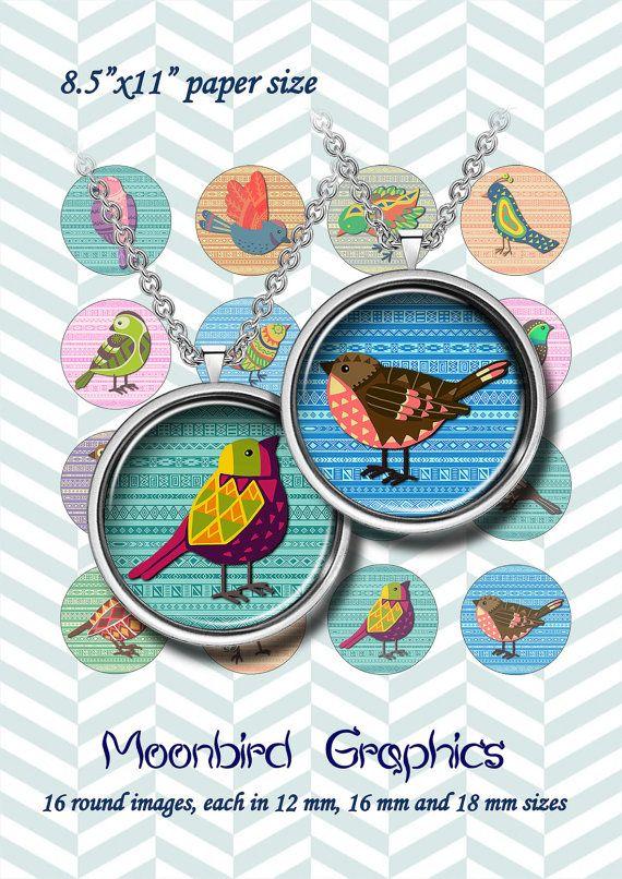 ETHNIC BIRDS  Digital Collage Sheet  12 mm 16 by MoonbirdGraphics