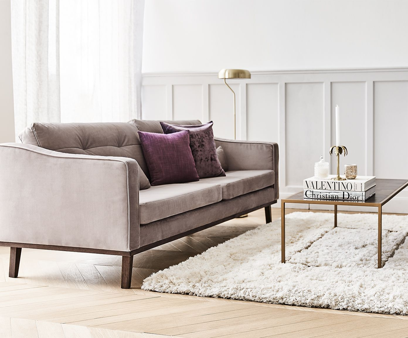 Amüsant Big Sofa Samt Dekoration Von Entdecken Sie Samt-sofa Alva (3-sitzer) In Taupe