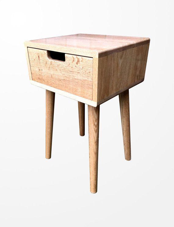 scandinavian nightstand bed side table solid oak in natural oak