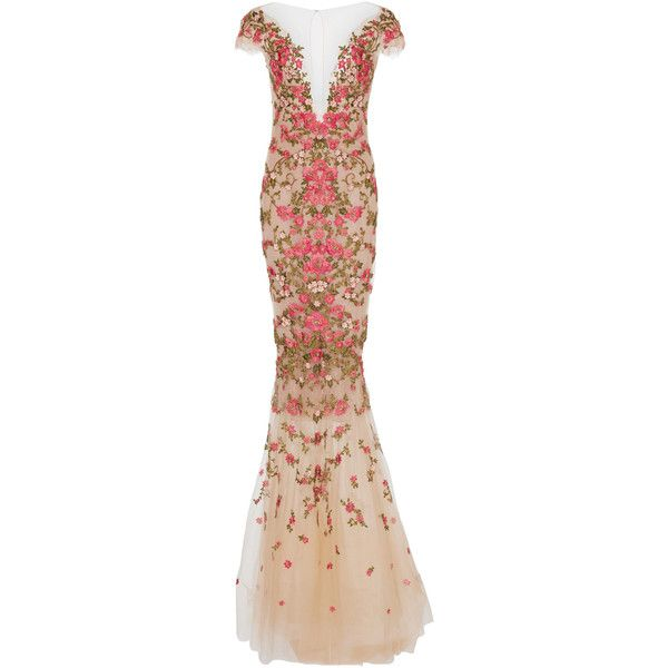 Marchesa Floral Embroidered Dress With Capelet (10 510 AUD) ❤ liked ...