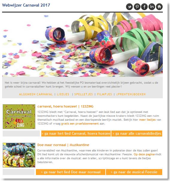 De verzameling Carnaval 2017 weer aangevuld met liedjes, boeken, filmpjes en meer..... http://www.schoolbordportaal.nl/schoolborden/catalogus.html?vakgebied=actueel-carnaval&pagina=alles #onderwijs #digibord