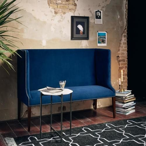 Best Chaucer Navy Blue High Back Wing Settee Bench Furniture 640 x 480