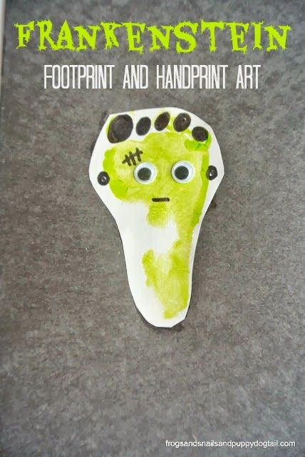 footprint and handfrankenstein print art classic halloween crafts for kids - Halloween Toddler Art Projects