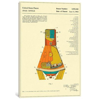 """East Urban Home 'NASA Space Capsule Patent' Graphic Art Print on Canvas Size: 18"""" H x 12"""" W x 1.5"""" D"""
