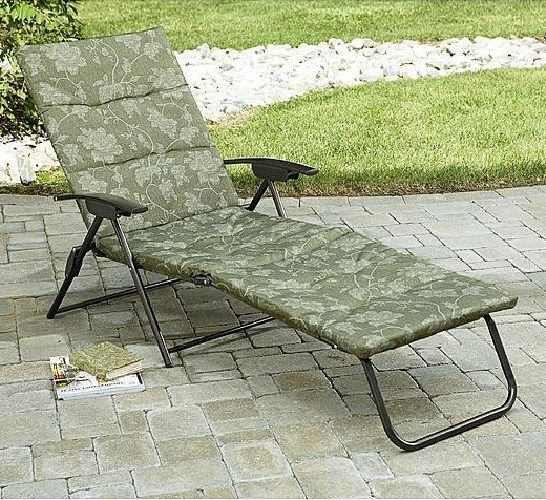 outdoor patio furniture folding chaise lounge chair padded fabric
