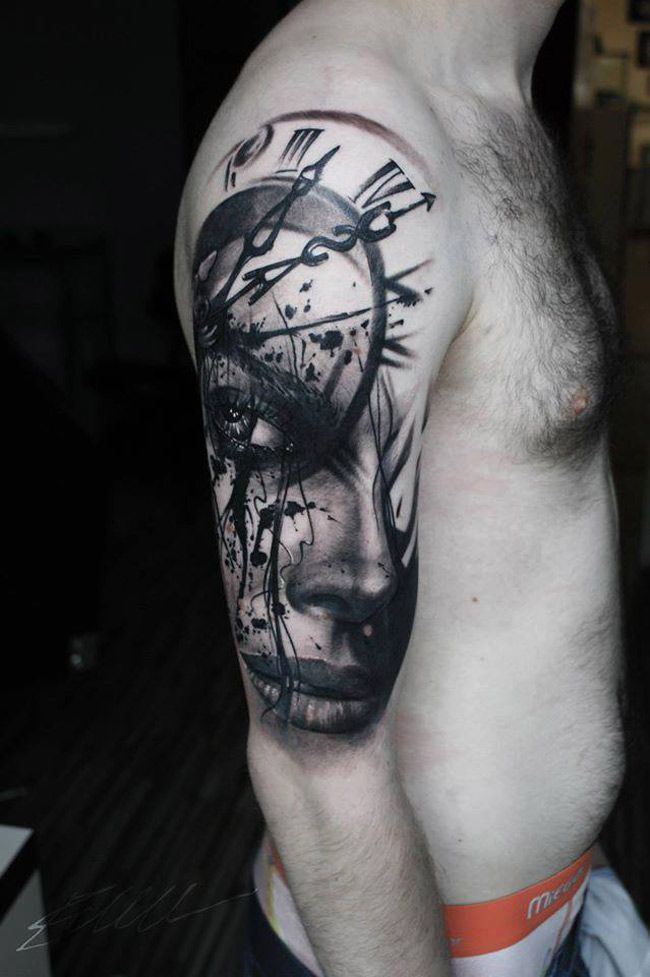 853cb5fa8dd25 Pretty woman's face and a clock face merged together in this guy's half  sleeve tattoo, done in black ink.