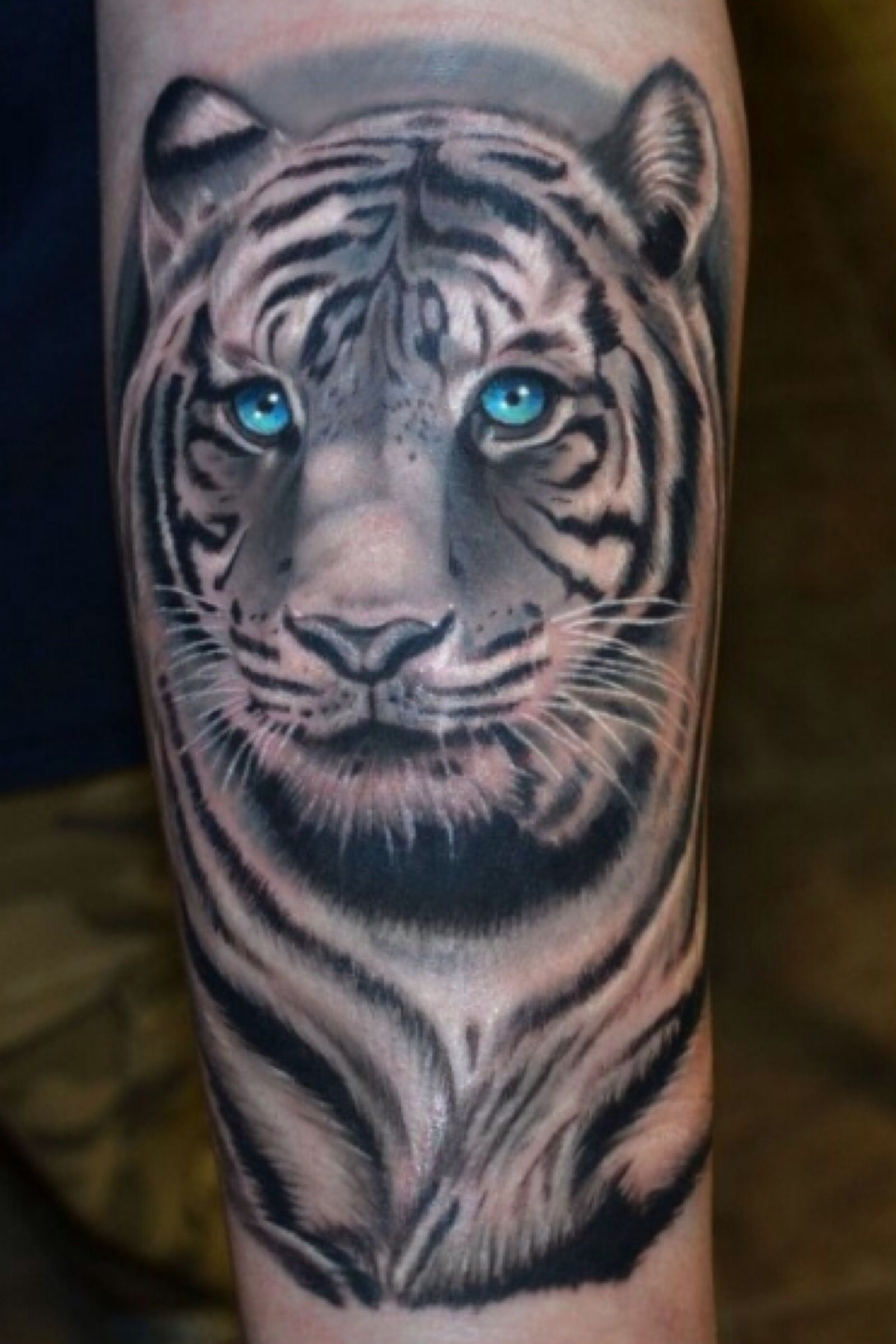 Black And White Tattoo With A Splash Of Color Love It Tiger Tattoo White Tiger Tattoo Mens Tiger Tattoo