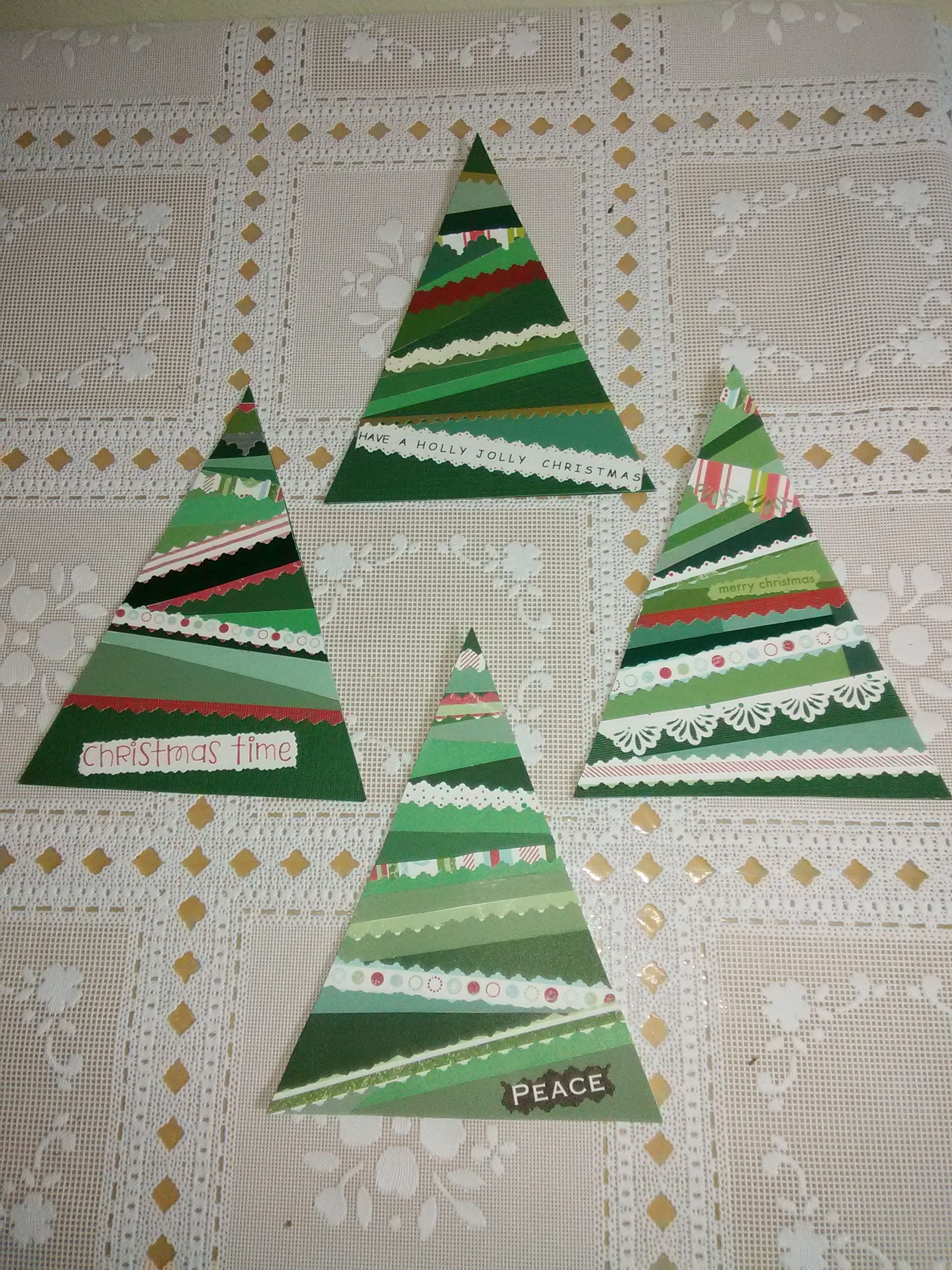 4 Paper Tree Christmas Ornaments Gift Tags or Garland Accent