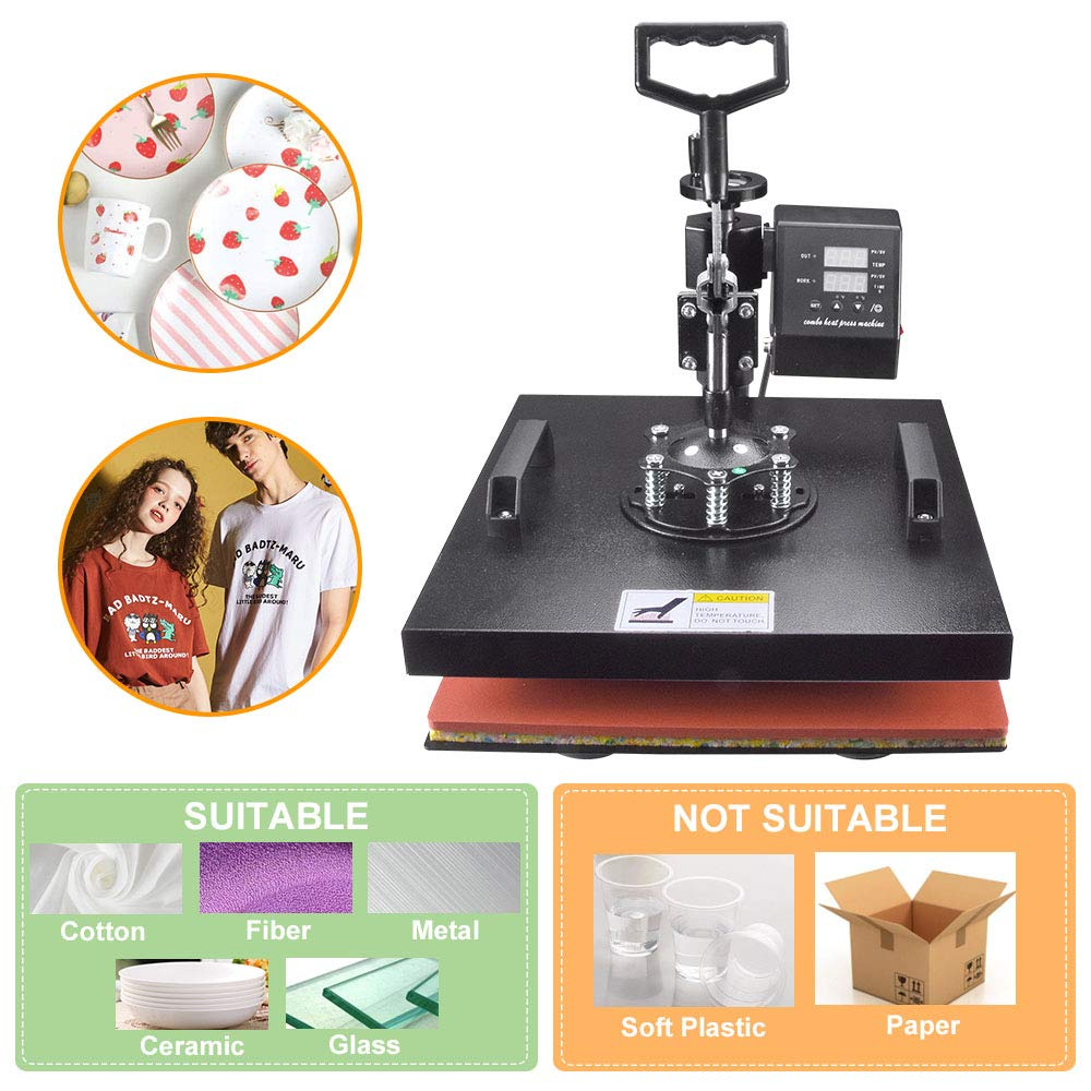 Power Heat Press Machine 12 X 15 Professional Swing Away Heat Transfer 5 in 1 Digital Sublimation 360-Degree Rotation Multifunction Combo for T-Shirt Mugs Hat Plate Cap