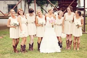 Rustic Bridesmaid Dresses with Cowboy Boots
