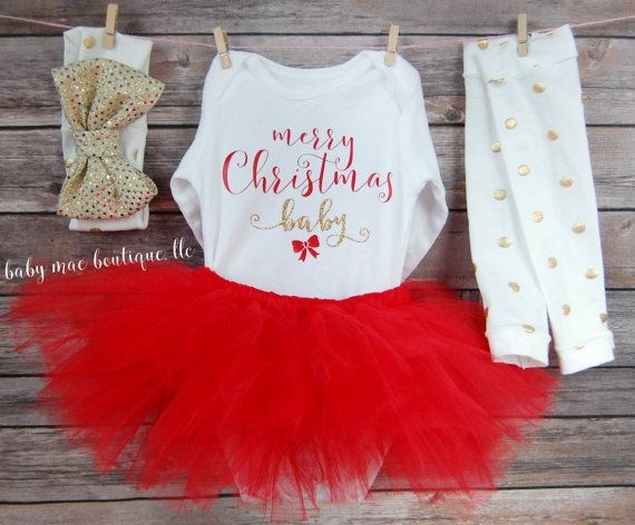 Baby Girl Christmas Outfit; Merry Christmas Baby First Christmas