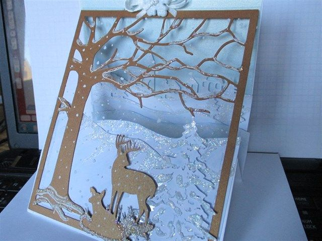 acetate front upright z fold winter scene card docrafts com