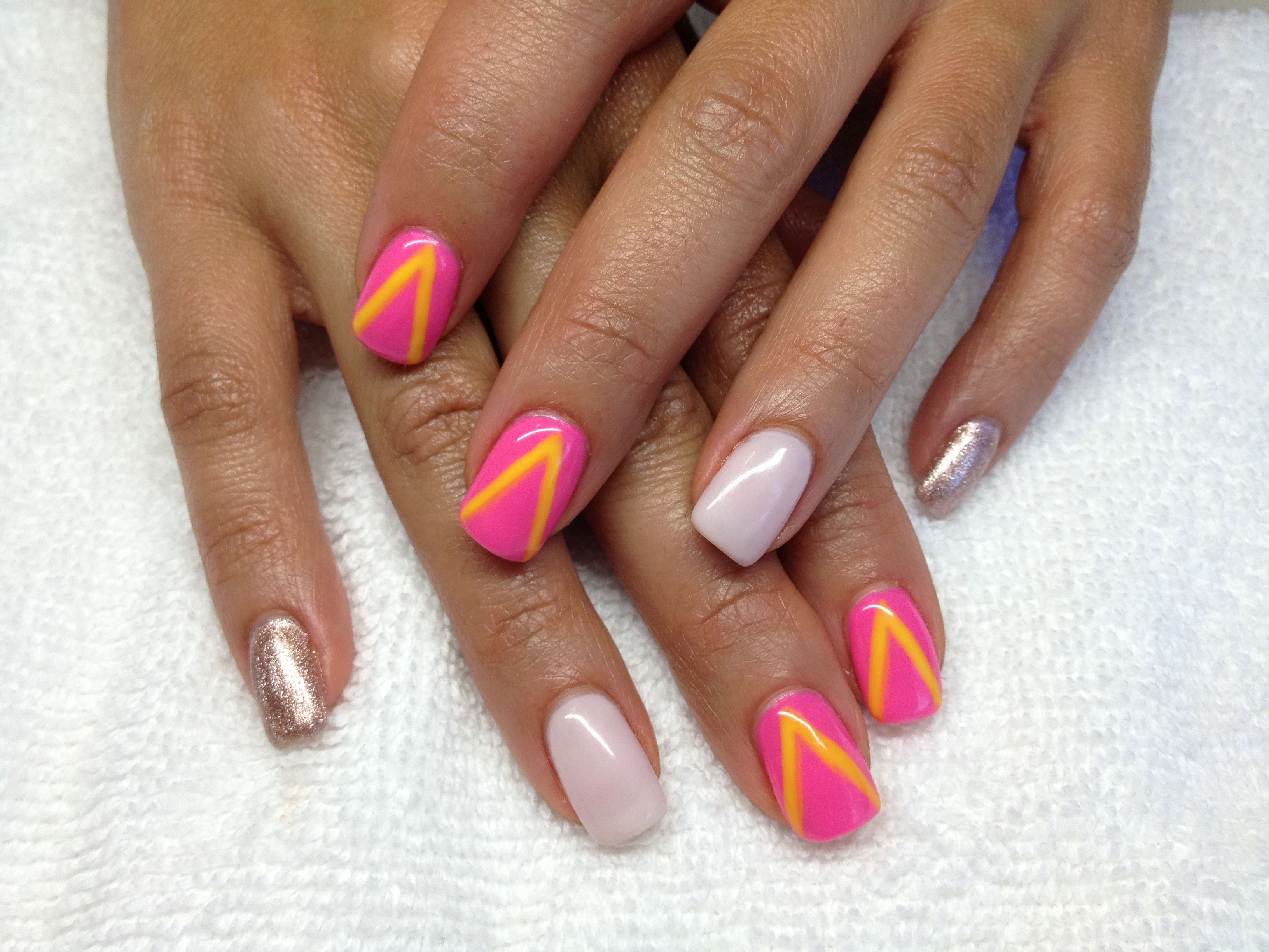 Pink Neon With Neon Yellow V Mani Q First Kiss Orly Gel Fx Orly Gel Fx Nail Art Nail Art