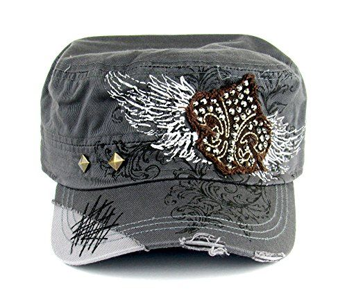 ab85e81e240 Savana Grey 100 Cotton Ladies Grey Hat Fleur-de-Lis Studded ...