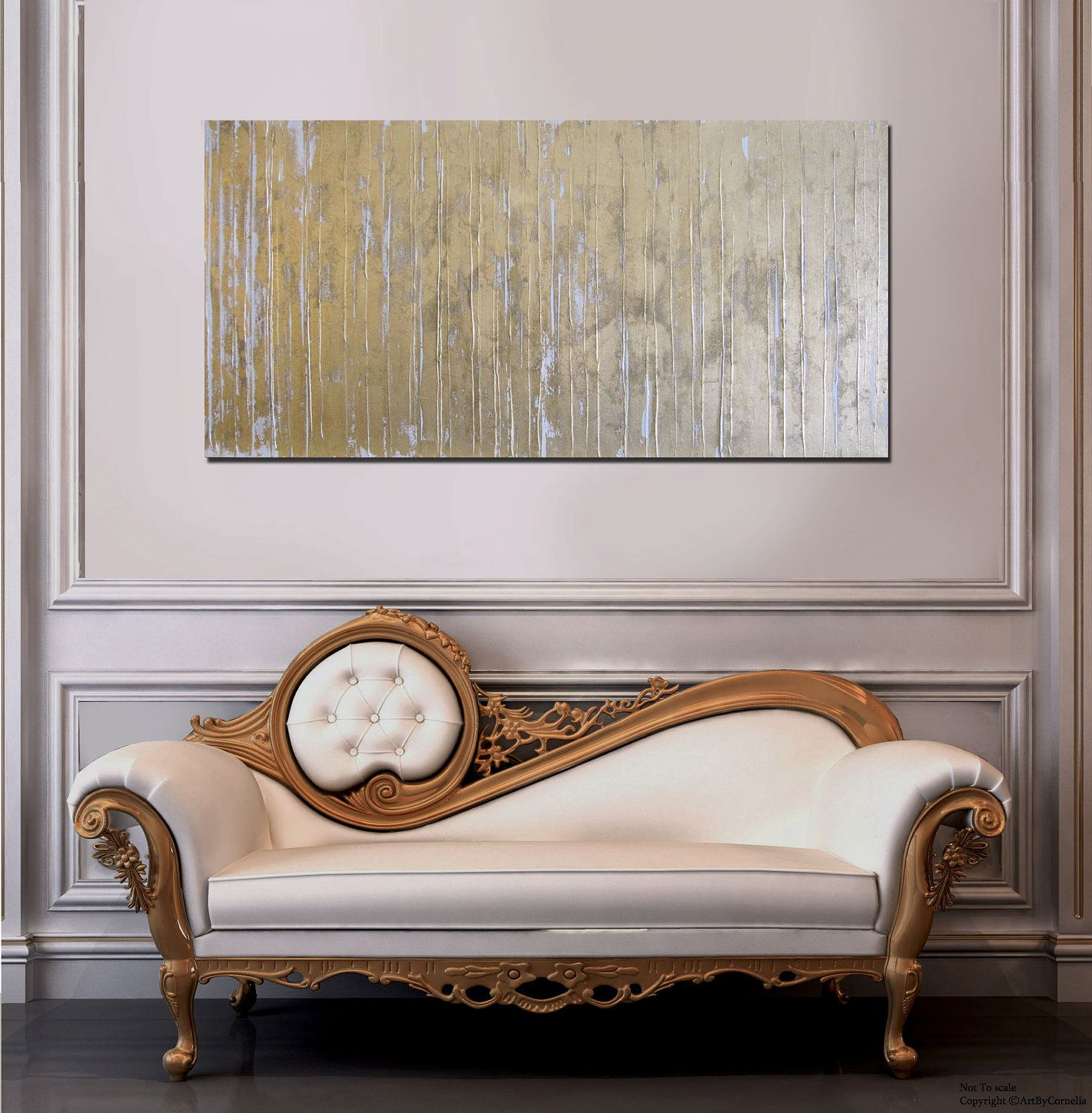 MADE TO ORDER Abstract Textured Gold and White Modern Contemporary Painting. $448.00, via Etsy.