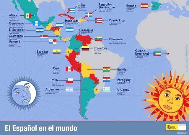 South America Map Spanish Speaking Countries map of spanish speaking