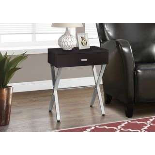 Cappuccino Chrome Metal Accent Table Nightstand