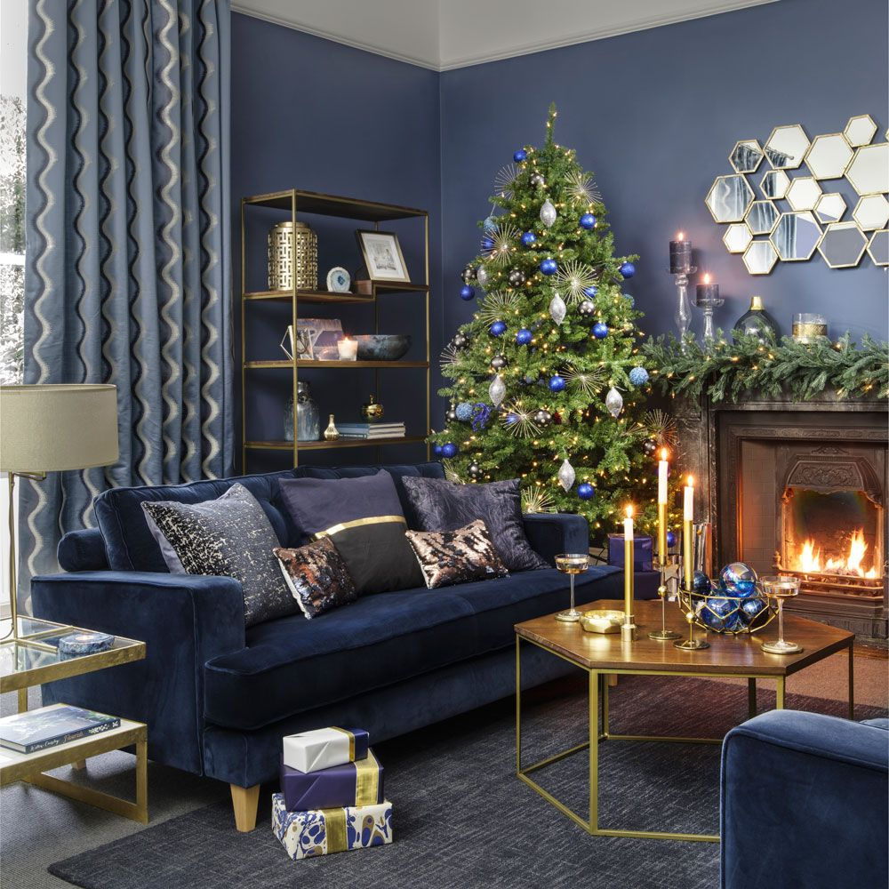 Midnight blue Christmas home decorating theme