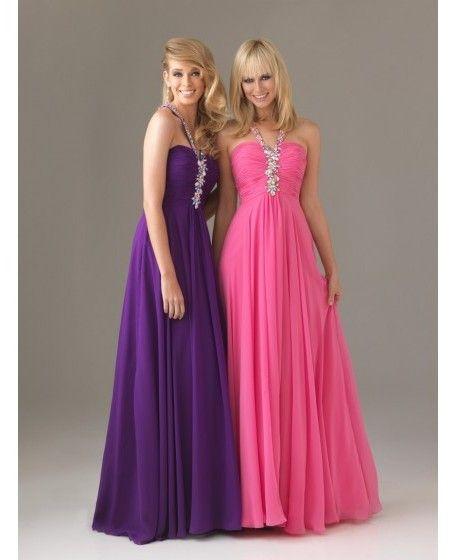 Rhinestone Floor-length Halter A-line Prom Dress