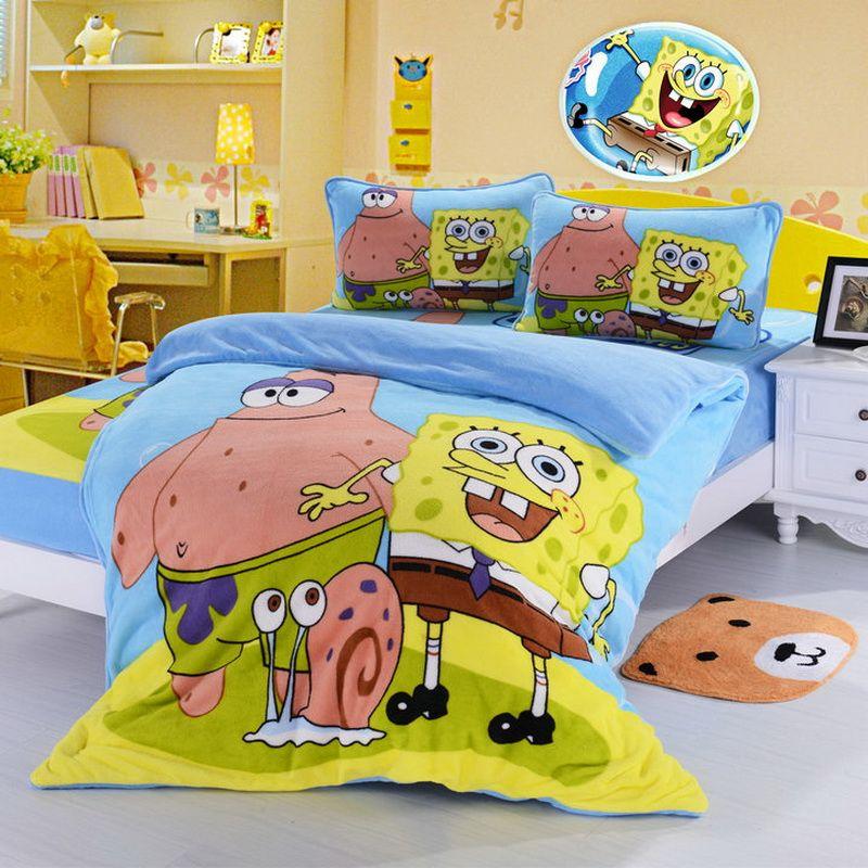 Spongebob Sky Blue Kids Bedding Duvet Cover Set Kid beds