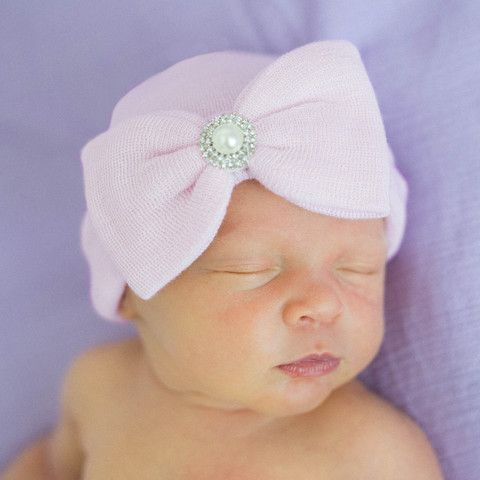 Pink Classic Pearl and Rhinestone Nursery Big Bow Newborn Girl Hospital Hat  - Pink 4d83532fa0cd