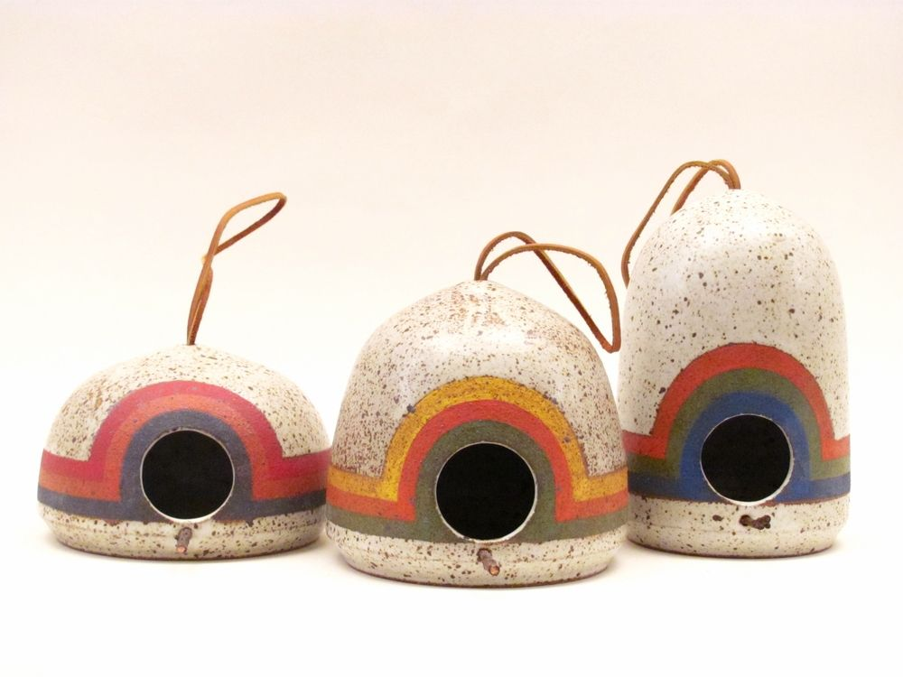 Hand-thrown/hand-painted birdfeeders by K&R Ceramics