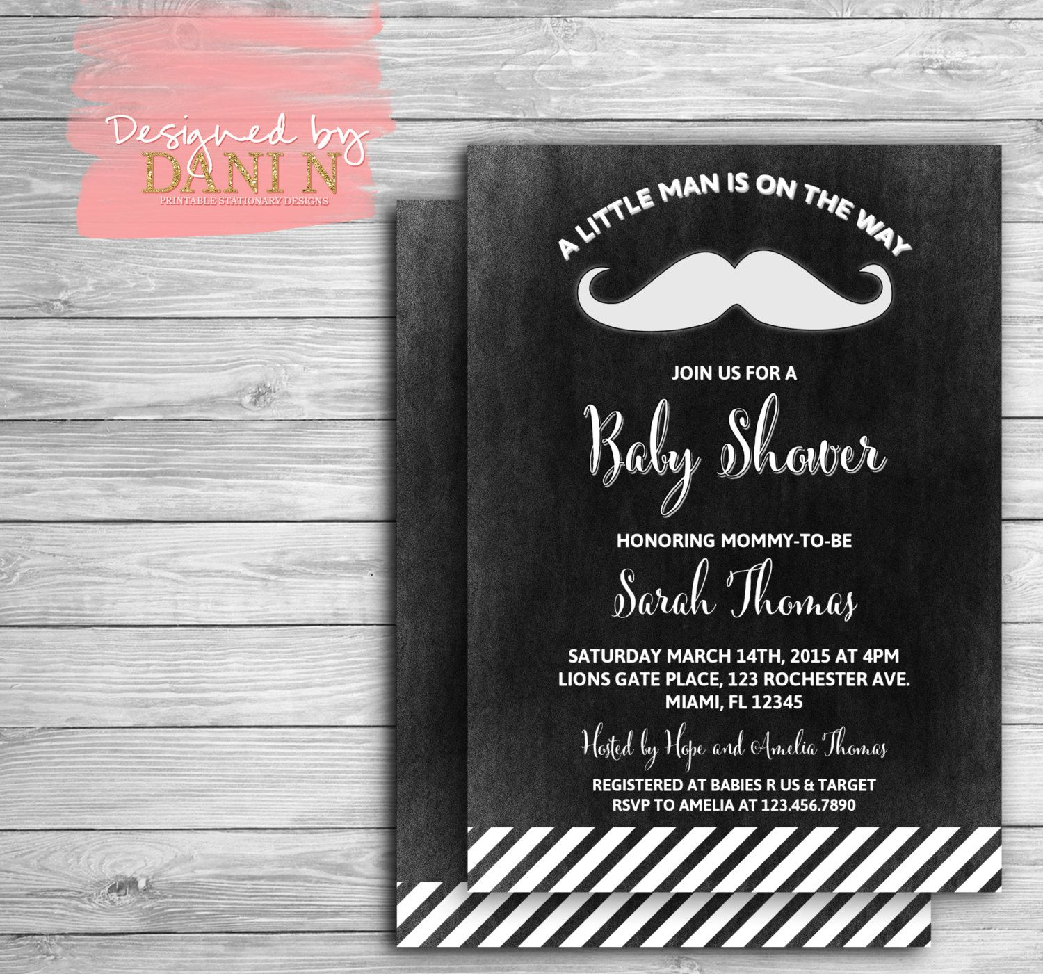 Mustache Baby Shower Invitation Little Man Chalkboard Baby Shower