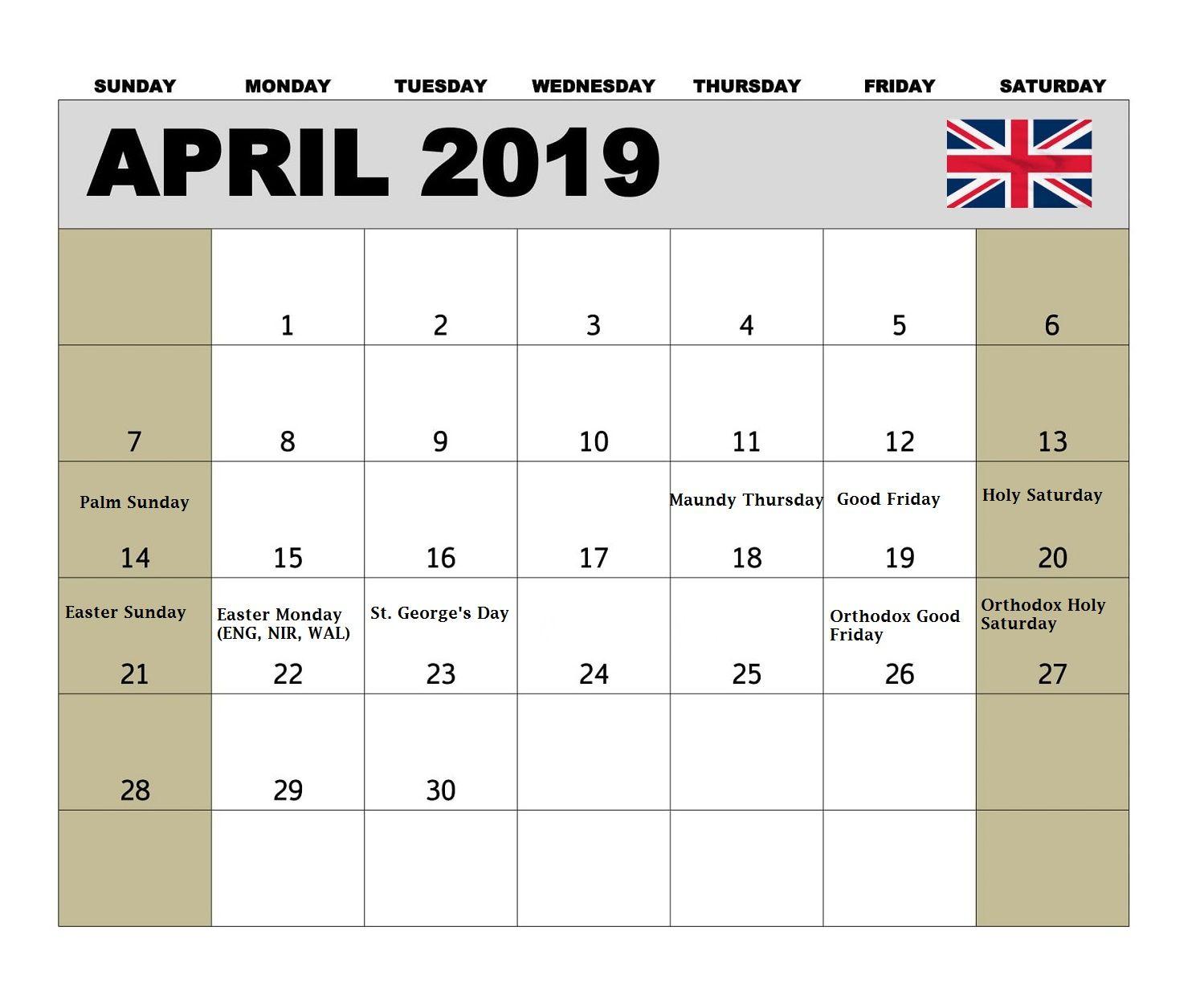 April 2019 UK Holidays Calendar #april #2019calendar #april2019calendar #uk  | 2019 calendar, Holiday calendar, Calendar uk