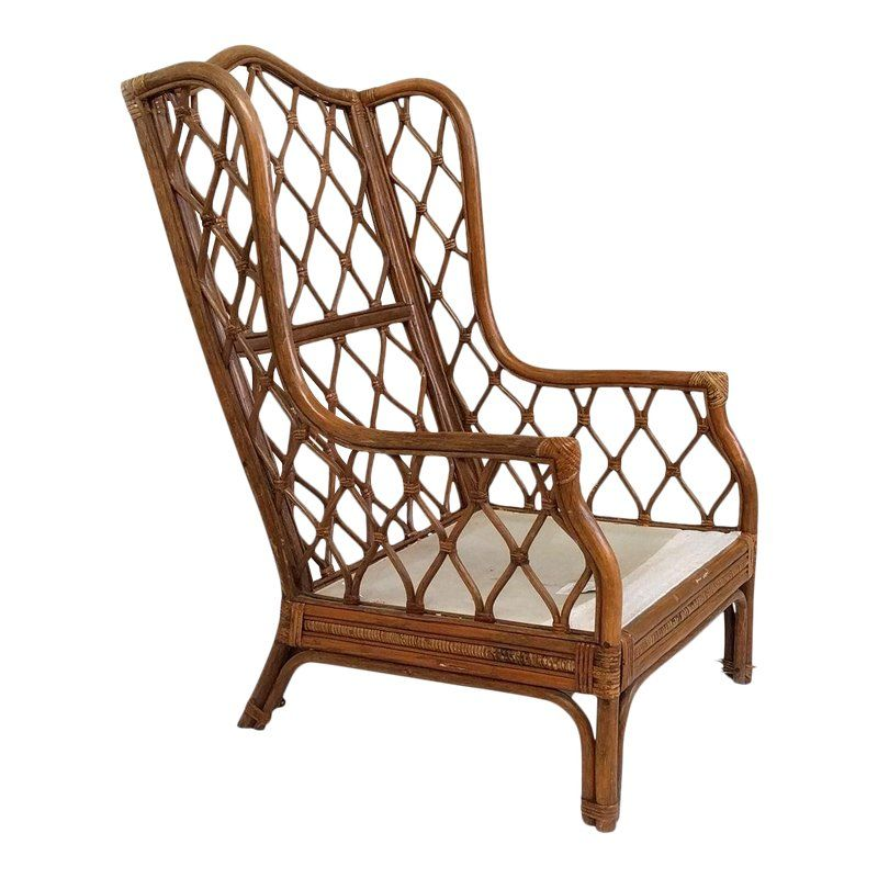 Awe Inspiring 1990S Vintage Boho Chic Rattan Frame Wing Chair In 2019 Gmtry Best Dining Table And Chair Ideas Images Gmtryco