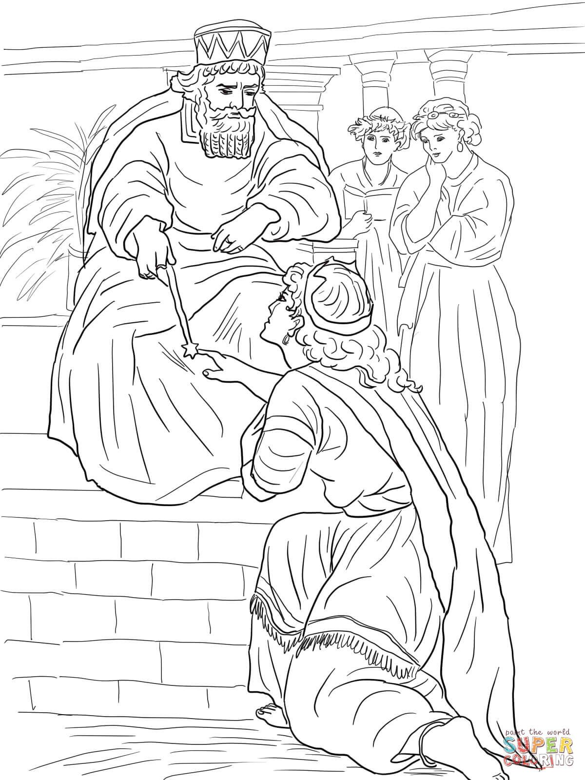 esther before king ahasuerus coloring page from queen esther category select from 27237 printable crafts of cartoons nature animals bible and many more - Coloring Pages Esther Queen Bible