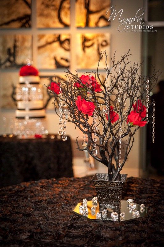 For Centerpieces Red Champagne White Black Wedding Google