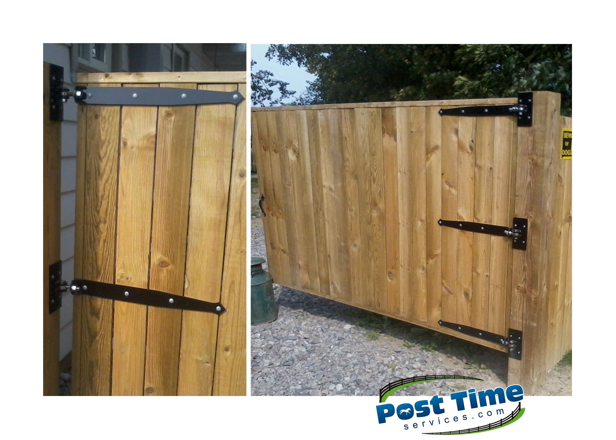 This Wood Driveway Gate Hangs Off A Solid Post With Long Heavy Duty  Adjustable Black Hinges, Available At Post Time Services