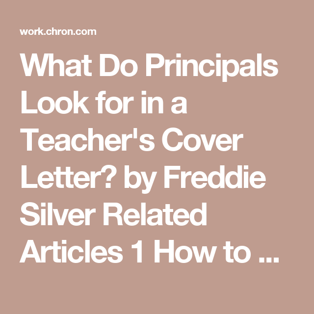 What Do Principals Look For In A TeacherS Cover Letter  Cover