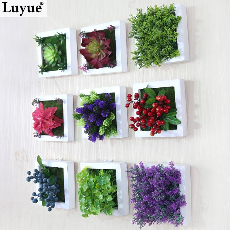 New 3d creative metope succulent plants imitation wood for Artificial plants for interior decoration