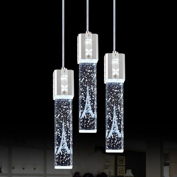 Triple Crystal Bubble Shade LED Ceiling Pendant Light Fixture   Pendant  Lights   Ceiling Lights