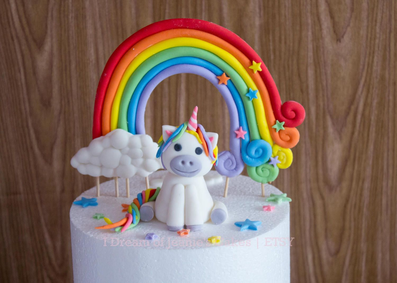 Unicorn Cake Topper Rainbow and Clouds Rainbow Name and Stars by