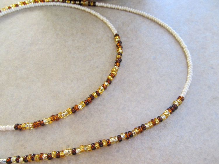 Champagne Toast - Ivory And Amber Mix Waist Beads  Beaded Jewelry, Homemade Necklaces, Beads