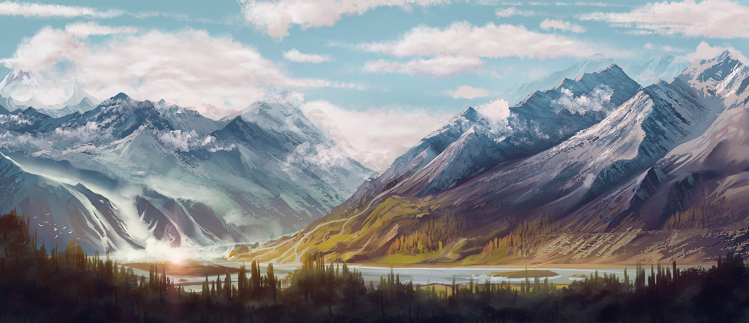 Landscape Painting Of Mountain Digital Art Mountains Forest Clouds River Sky Artwork 1080p Wallpaper Landscape Paintings Mountain Paintings Landscape Fantasy art river forest mountains sky