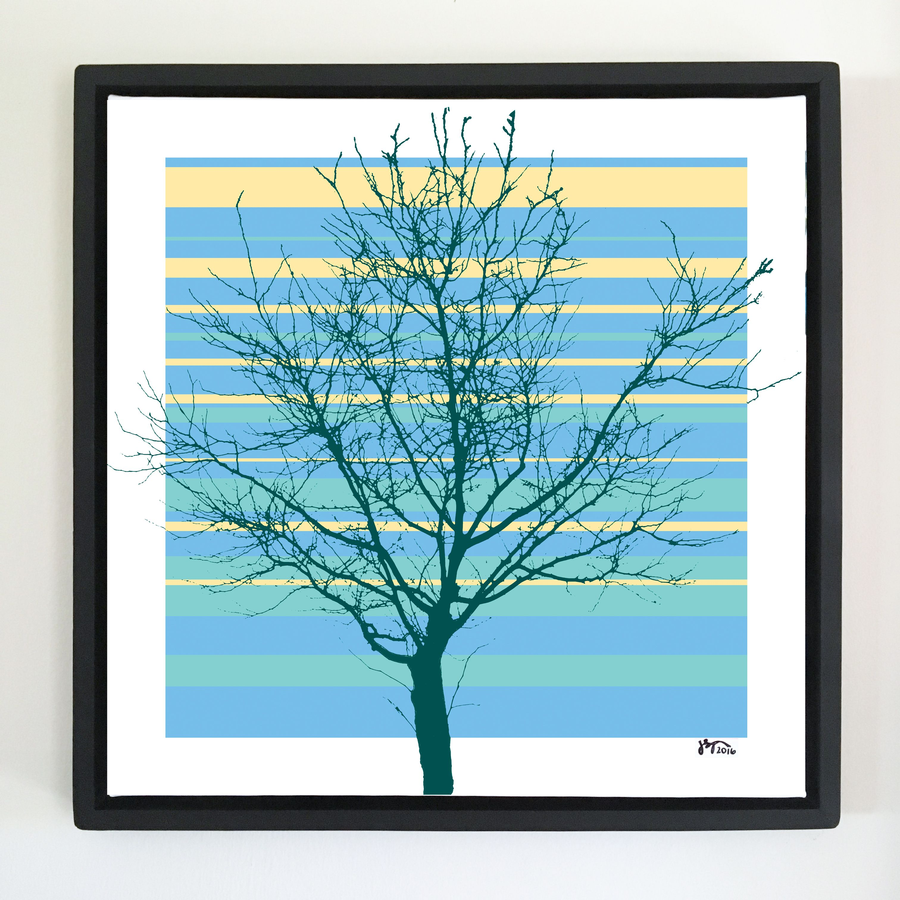 """Overflow series: """"Tree Naked"""" 24 x 24 inch, digital art & gloss and matte…"""
