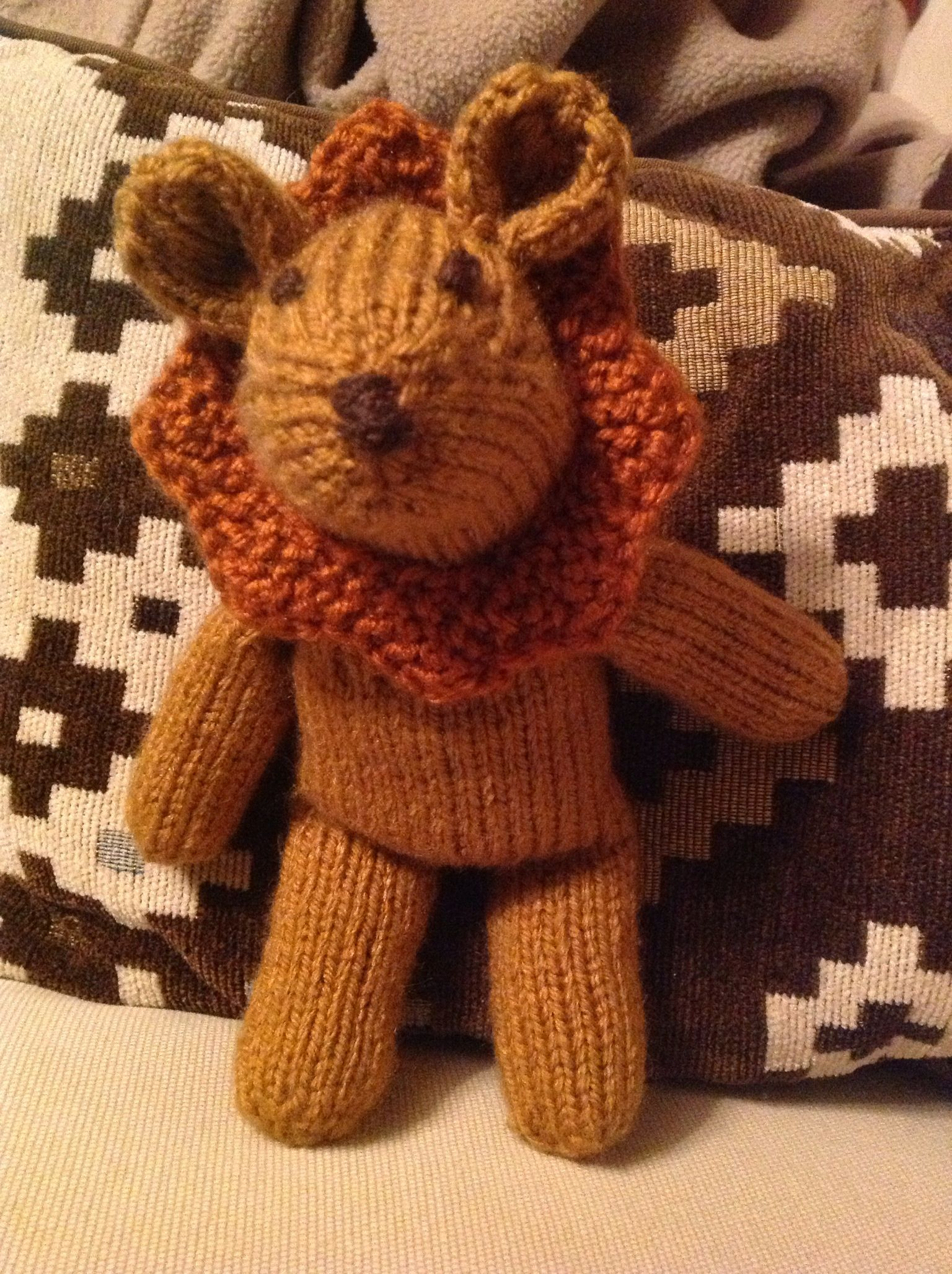 Knitted lion for Leo | Knitted toys, Knitted, Knit crochet