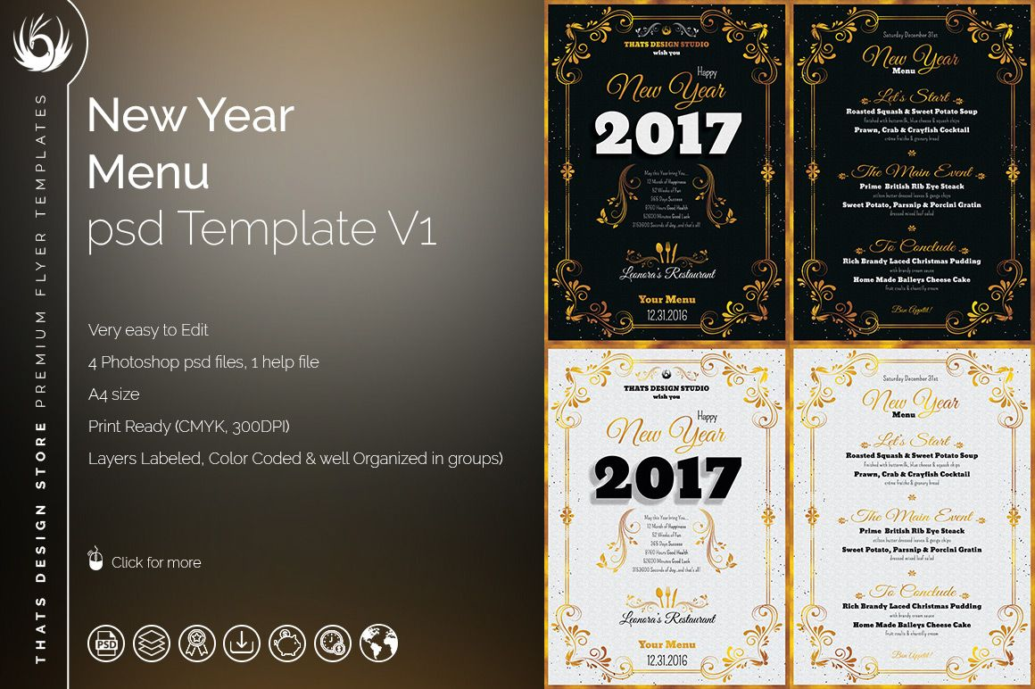 New Year Menu Template Psd To Customize With Photoshop V  Menu